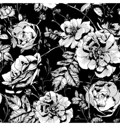 Black and White Floral Seamless Background vector image