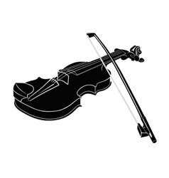 Black - White Musical instrument violin with vector image