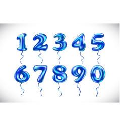 Blue number 1 2 3 4 5 6 7 8 9 0 metallic balloon vector