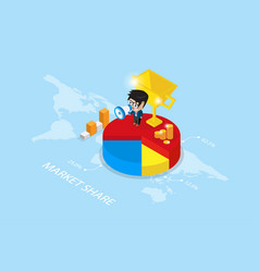 Businessman holding a megaphone on pie chart vector