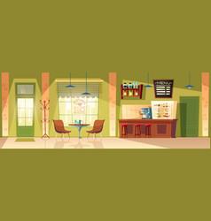 Cartoon cafe background cafeteria interior vector