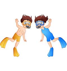 cartoon diver boy waving hand vector image