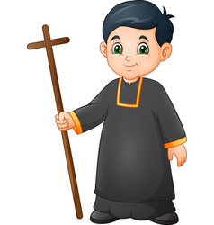cartoon little boy altar server in uniform holding vector image
