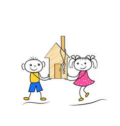 cartoon stickman figures of boy and girl buying vector image