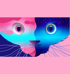 Cat two-faced vector