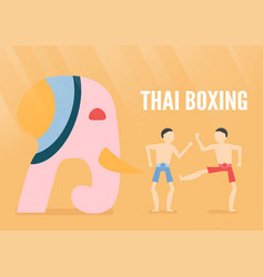 character design of thai boxing people with vector image
