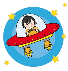 Child flying a spacecraft vector