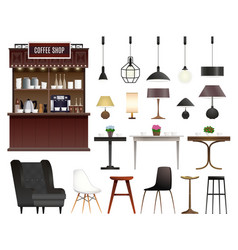 coffee shop realistic set vector image
