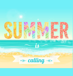 Colorful summer is calling words on the background vector
