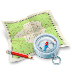 Compass map and pencil for vector