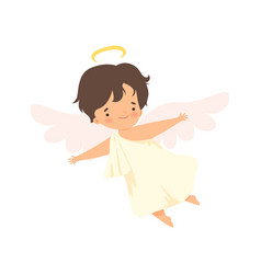 Cute boy angel with nimbus flying with wings vector