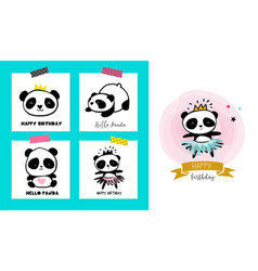 cute panda bears simple style cards posters vector image vector image