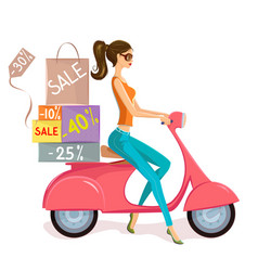 cute woman on scooter driving from shopping sale vector image