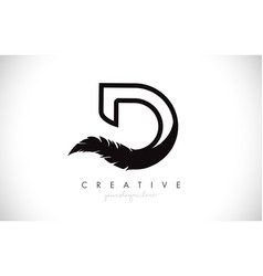 D feather letter logo icon design with feather vector