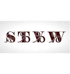 Decorative capital letters s t v w for your vector