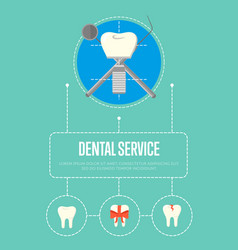 Dental service banner with tooth implant vector