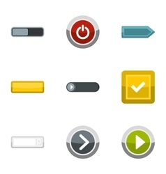 Different buttons icons set flat style vector