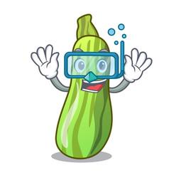 Diving fresh organic zucchini in cartoon bowl vector