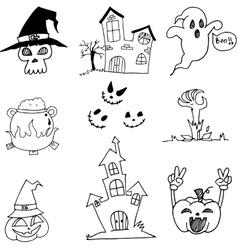 Doodle of Set halloween flat vector
