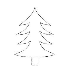 Dotted shape natural pine tree with trunk design vector