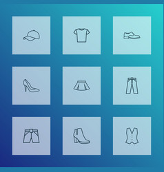 dress outline icons set collection of hat shoe vector image
