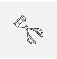 Eyelash curler sketch icon vector image