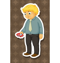 Fat man holding toy car vector