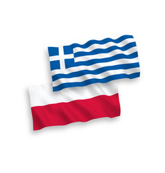 Flags greece and poland on a white background vector