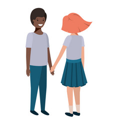 friendly teenagers ethnicity couple characters vector image