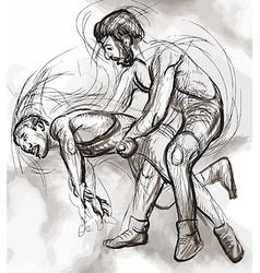 Greco-Roman Wrestling An hand drawn vector
