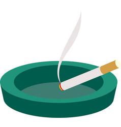 green ceramic ashtray with cigarette vector image