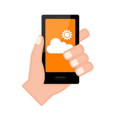 Hand holding a smartphone with a forecast app vector