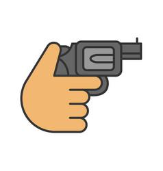 hand holding revolver color icon vector image