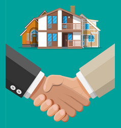 handshake and house building vector image