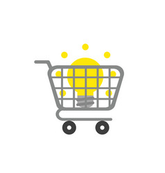 icon concept of light bulb inside shopping cart vector image