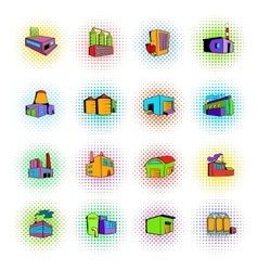 Industrial factory building set icons vector image