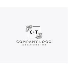 Initial ct letters botanical feminine logo vector