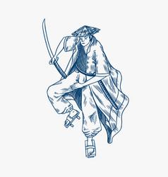 japanese samurai warriors with weapons sketch men vector image