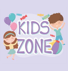 Kids zone happy little boy and girl balloons and vector