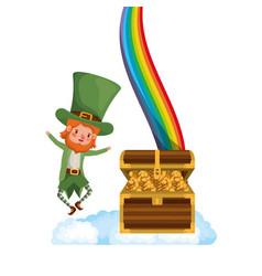leprechaun with rainbow avatar character vector image