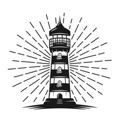 lighthouse with rays black vector image