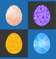 low poly and geometric eggs vector image