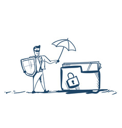 Man in business suit shield hold umbrella folder vector