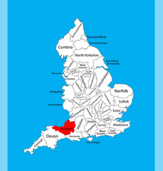 Map somerset south west england united kingdom vector