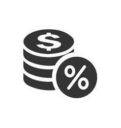 Money percentage icon vector