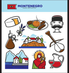 montenegro tourism travel famous symbols and vector image