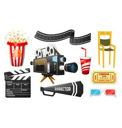 movie elements set vintage online cinema popcorn vector image