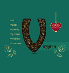 name day greeting card with flowers and letter v vector image