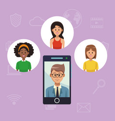 Navigating on social media vector