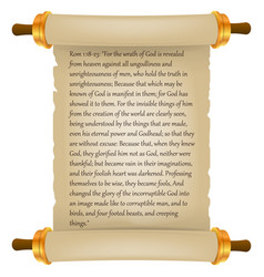 Old scroll with bible text parchment realistic vector